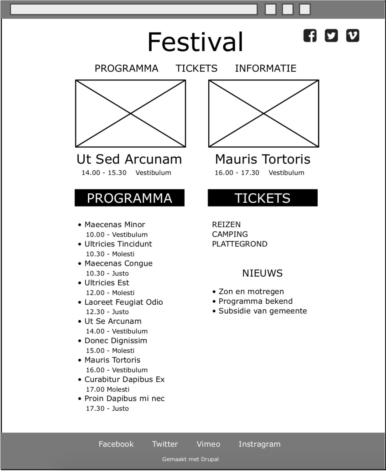 Wireframe of website page